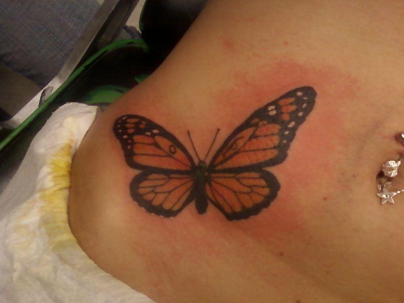 Beautiful Monarch Butterfly Waist Hip Tattoo For Women