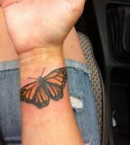 Awesome Orange-Winged Monarch Butterfly Wrist Tattoos