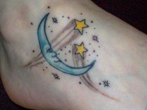 Sweet Moon and Star Foot Tattoos For Girls