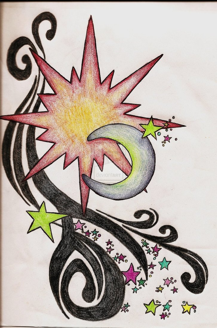 Cool Sun Moon And Stars Tattoo Sketch By Ccrum