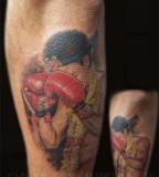 Cool Muay Thai Shaped Tattoo Design on Foot