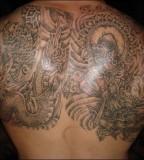 Full Back Tiger Muay Thai Tattoo Design Photo