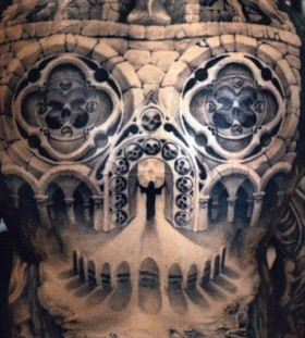mythical full back tattoos for men