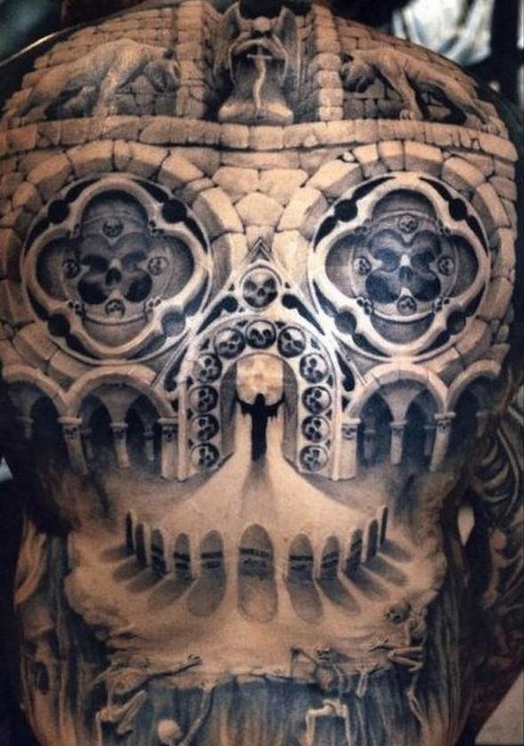 mythical full back tattoos for men