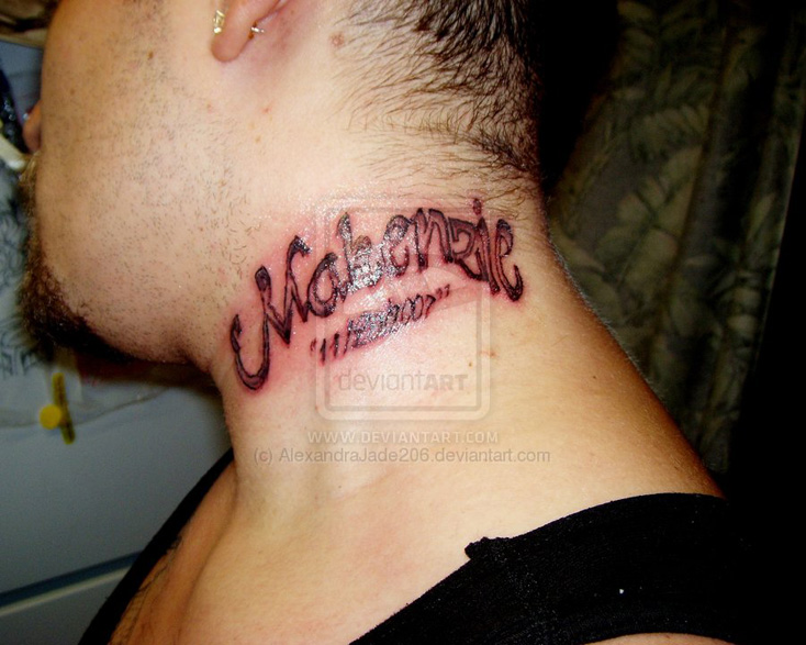 Lettering Tattoos With Name -Neck Tattoo