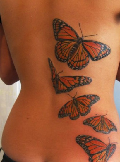 Sexy Back With Butterfly Tattoos Design