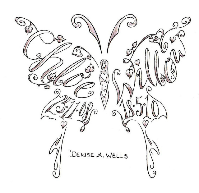 Name Tattoos Made Into A Butterfly Shape Design