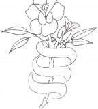Tattoo Design Rose Bud With Three Names Banner