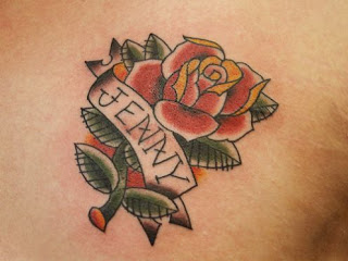 Rose Tattoo With Name Banner Design