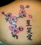Cherry Blossom And Kanji Letter Tattoo Design