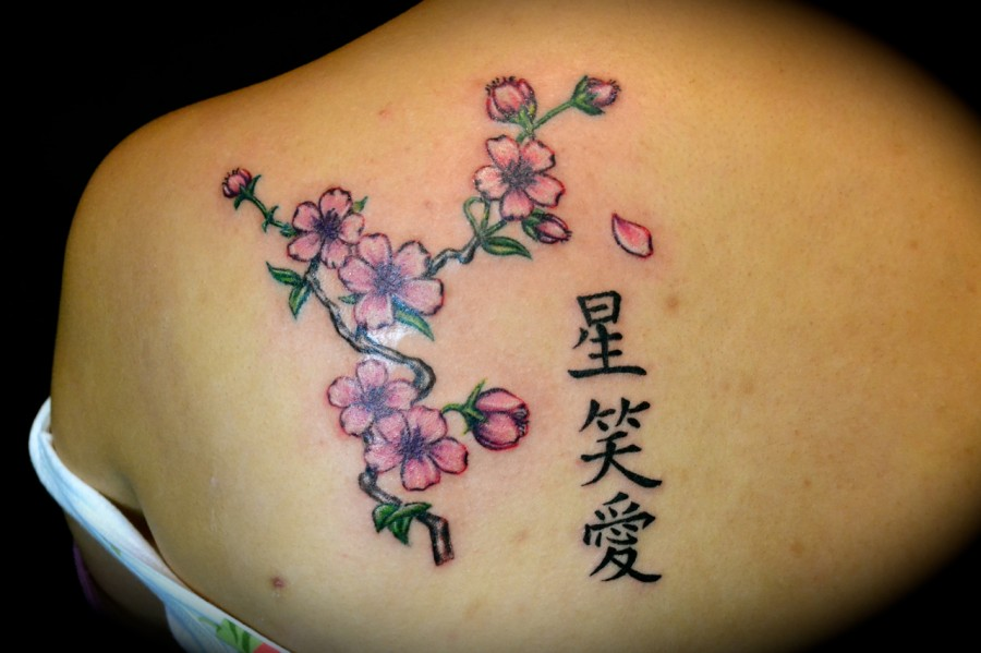Cherry Blossom And Kanji Letter Tattoo Design