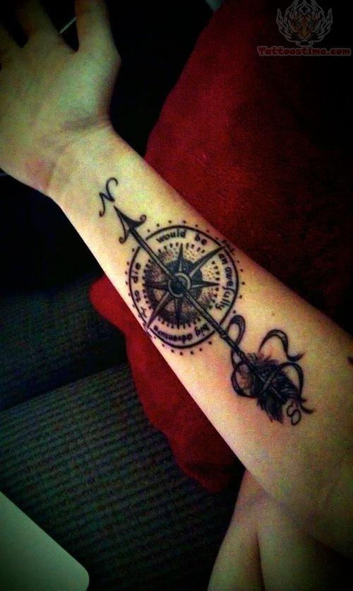 Compass arm tattoo design for Compass tattoo arm