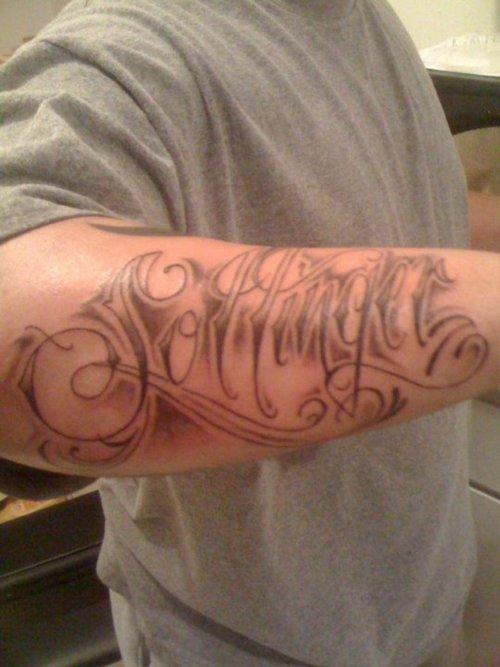 Forearm  Name Tattoo Ink Design