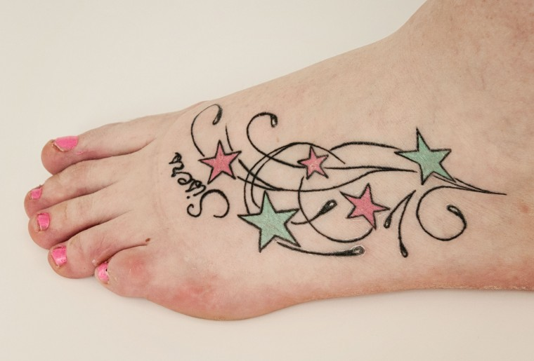 Colorful Star Tattoos for Foot