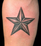 Black And Grey Nautical Star Men Tattoo Design