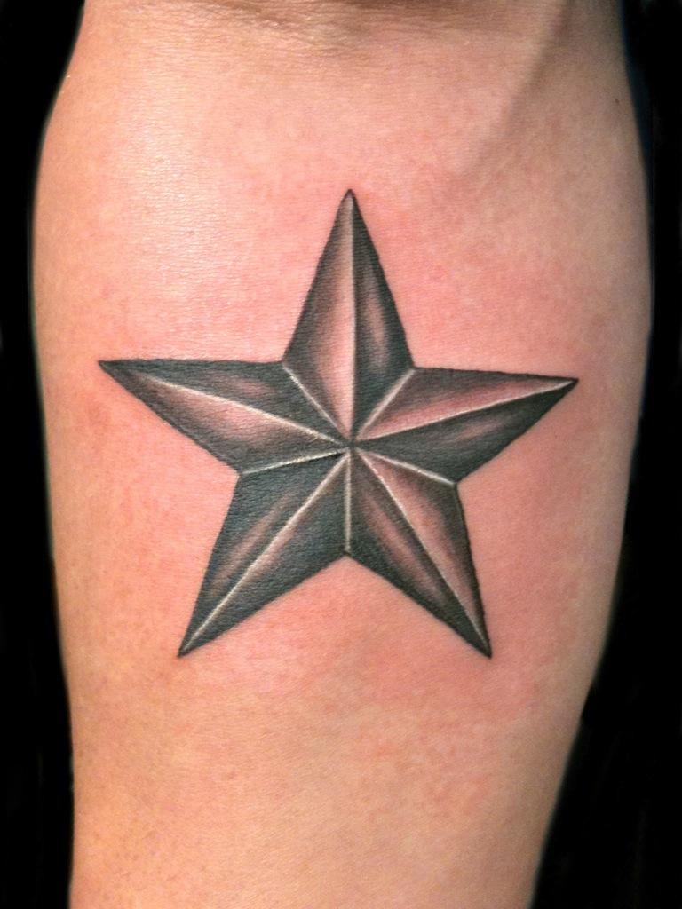 Black And Grey Nautical Star Men Tattoo Design