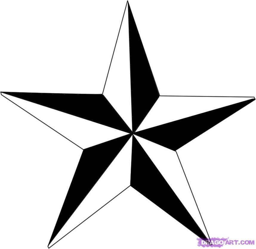 Black And White Nautical Star Tattoos