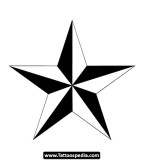 Black And White Nautical Star Tattoo Design