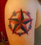 Nice Red Nautical Star Tattoo