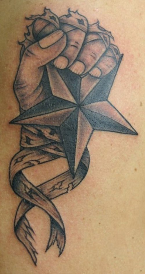 Nautical Star into the Hand Tattoo Design