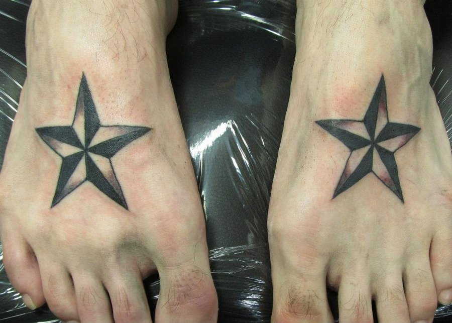 Stylish Nautical Star Men Tattoo on Foot