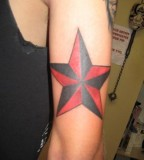 Red Nautical Star Tattoo Design on Arm for Men
