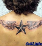 Winged Nautical Star Back Tattoo Design