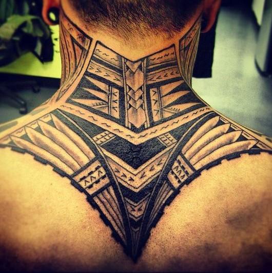 neck tribal tattoo