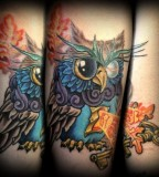 Illistrative Neotraditional Owl With Key Tattoo Tattoos
