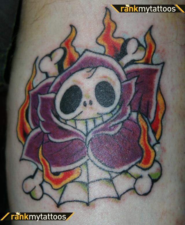 Red Flower With Old School Skull Tattoo