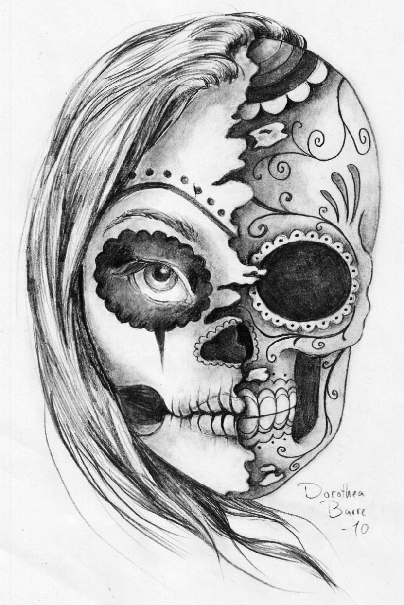 """The Sugar """"Two Face"""" Skull Tattoo Sketch Design by Dorothea Barre"""