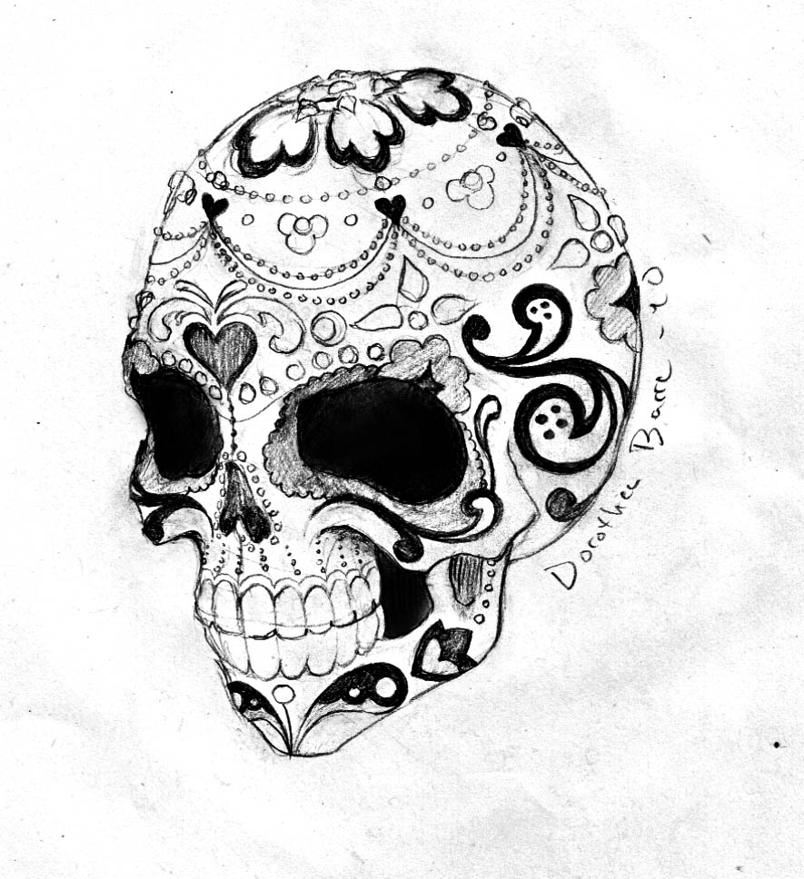 The Sugar Skull Tatttoo Sketch Design by Dorothea Barre