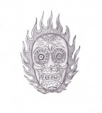 Flame Skull Old School Tattoo Sketch By Kamil666