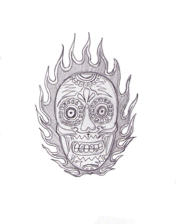 Flame Skull Old School Tattoo Sketch By Kamil666