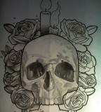 Old School GodWell's Skull Tattoo Sketch Design