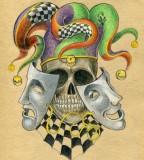 Old School Skull Joker Tattoo Sketch Design