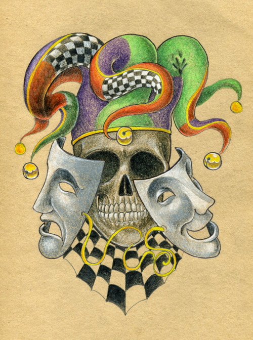 Old School Skull Joker Tattoo Sketch Design Tattoomagz