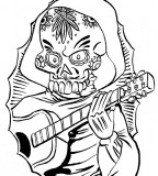 Old School Music Skull Tattoo Sketch Design