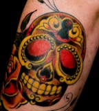 Golden Pirates Skull Tattoo Design