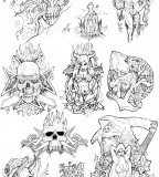 Old School Latin Style Evil Skull Tattoos Sketch