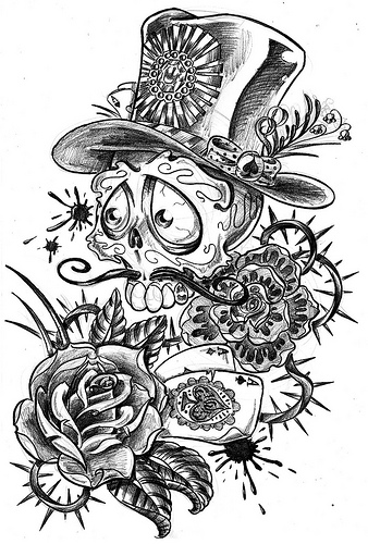 Skull, Flower and Aces Tattoo Sketch Design