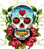 Old School Mexican Love Skull Tattoo Sketch Design