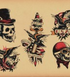 Old School Skull Wear a Hat Tatto Sketch Design