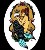 Mermaid with Old School Tattoo Design