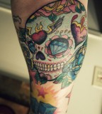 Inspiring Old School Skull Tattoo Design Forearm