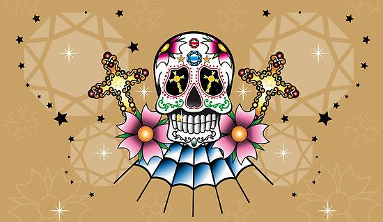 Old School Diamond Skull with Diamond Cross Tattoo Design