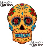 Colorful Old School Skull with Flower Tattoo Sketch Design