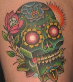 Green Old School Skull Tattoo Design