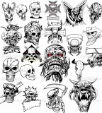 Many Skull Tattoo Sketch Design