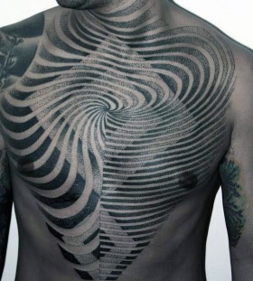 optical illusion chest tattoos for men